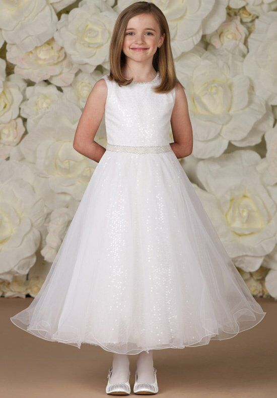 Joan Calabrese by Mon Cheri 113372 White Flower Girl Dress