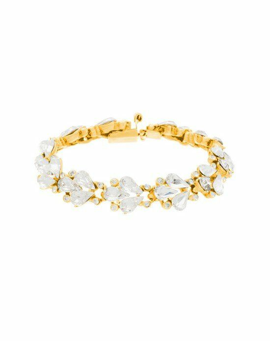 Thomas Laine Ben-Amun Small Crystal Fan Teardrop Gold Bracelet Wedding Bracelet photo