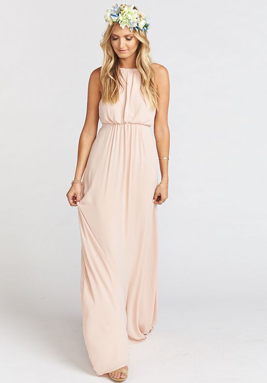 Show Me Your Mumu Amanda Maxi Dress - Dusty Blush Crisp Halter Bridesmaid Dress