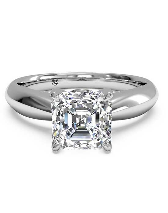 Ritani Solitaire Diamond Tapered Engagement Ring with Surprise Diamonds - in 14kt White Gold (0.04 CTW) for a Asscher Center Stone Engagement Ring photo