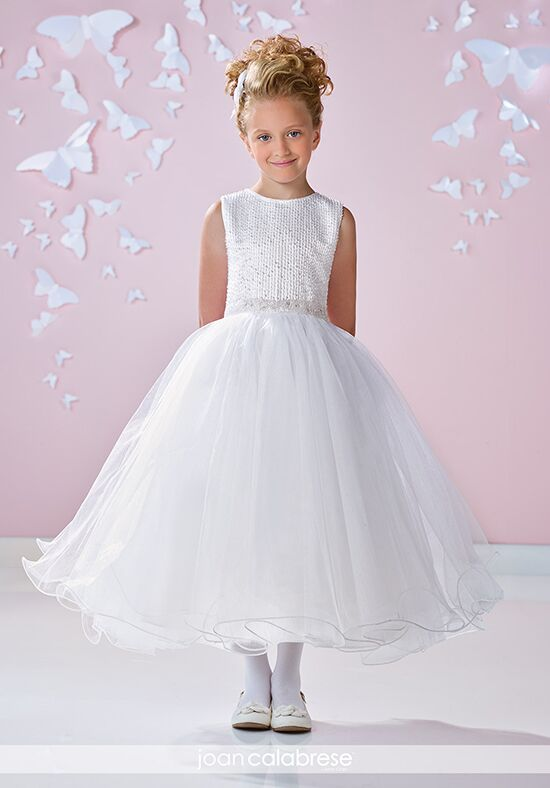 Joan Calabrese by Mon Cheri 117339 White Flower Girl Dress