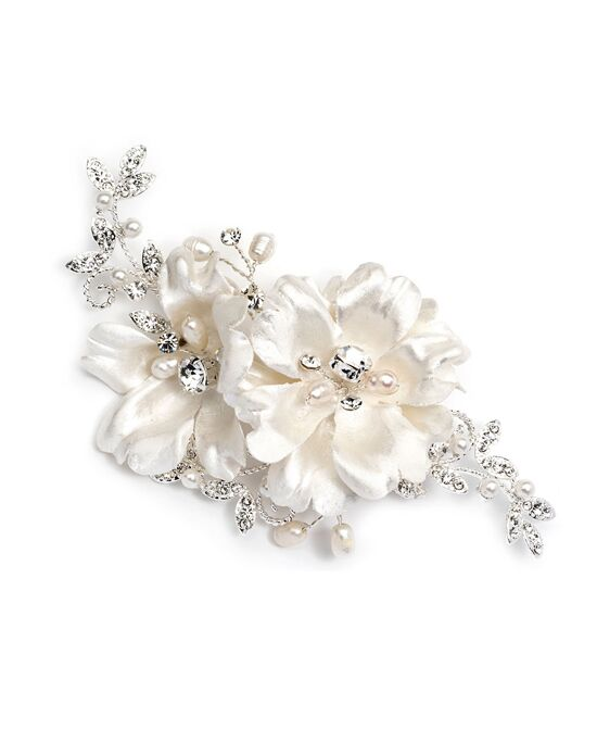 USABride Double Ivory Floral Comb TC-2266 Silver Pins, Combs + Clip