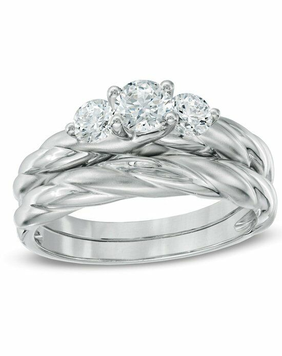 zales past present future collection 34 ct twround cut diamond 3 stone set engagement ring in 14k white gold 19909787 wedding ring the knot - Zales Wedding Rings Sets