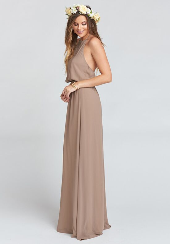 Show Me Your Mumu Heather Halter Dress - Dune Chiffon Halter Bridesmaid Dress