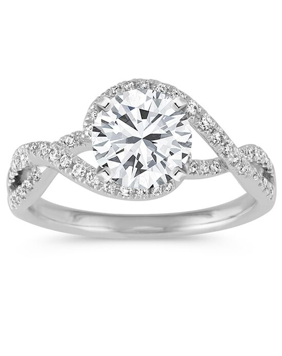 Shane Co Swirl Diamond Engagement Ring in 14k White Gold Engagement