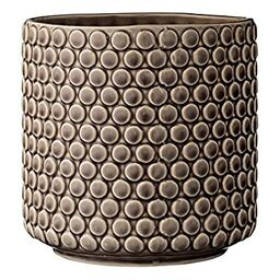 Bloomingville Scalloped Round Ceramic Flower Pot, Nougat