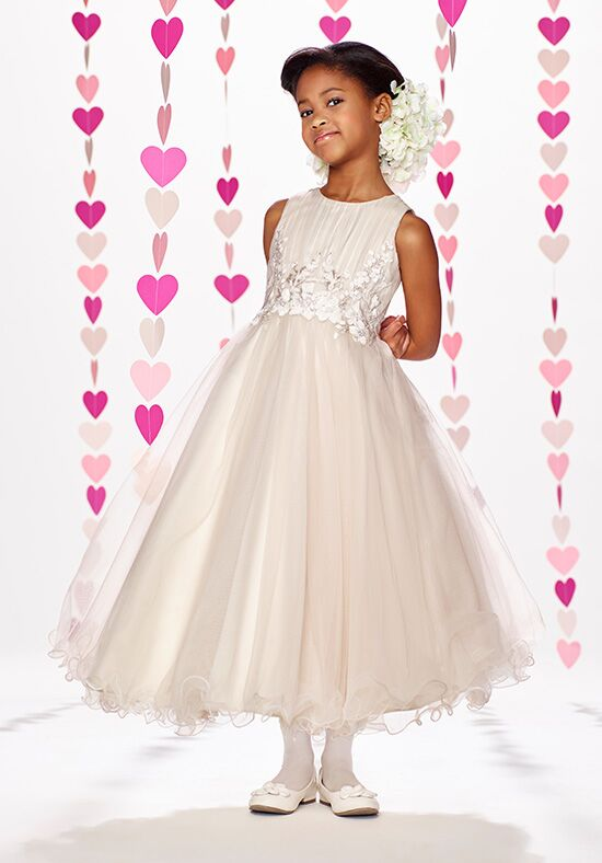 Joan Calabrese by Mon Cheri 217388 Champagne Flower Girl Dress