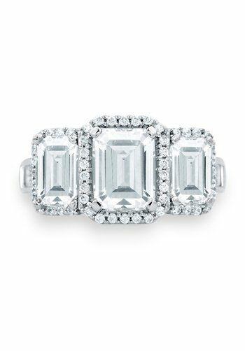 A.JAFFE Classic Three Stone Emerald Cut Halo Engagement ...
