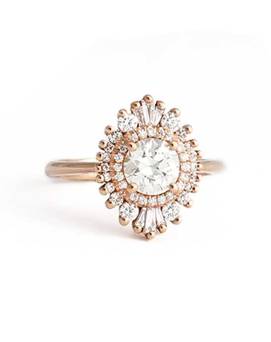 Art Deco Inspired, Custom Ring Designs Vintage Round Cut Engagement Ring
