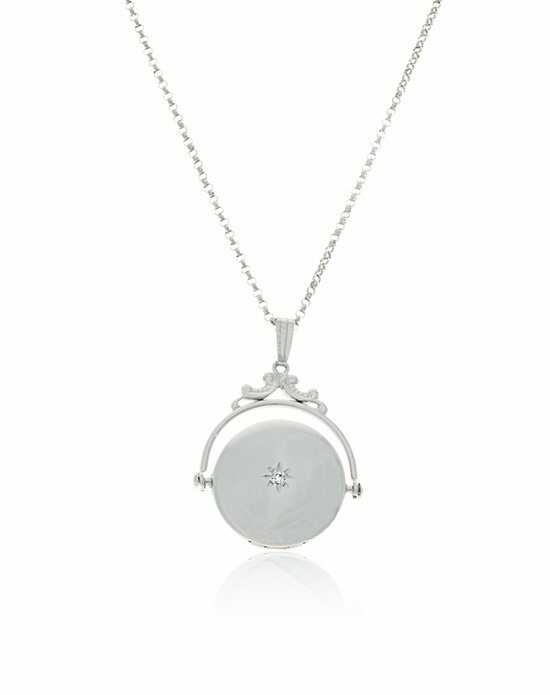 Thomas Laine Silver Spin Round Diamond Locket Wedding Necklace photo